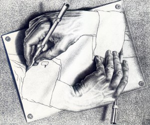 mc escher drawing hands
