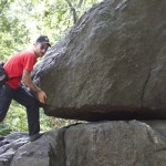 Adal lifting a huge rock in central park