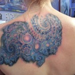 back tattoo blue fractal purple psychedelic modern visionary
