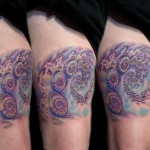 colorful nautical fractal movement psychedelic tattoo