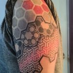 modern geometric black grey red tattoo sleeve