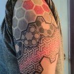modern geometric black grey red tattoo sleeve