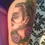 male sugar skull calavera thigh tattoo