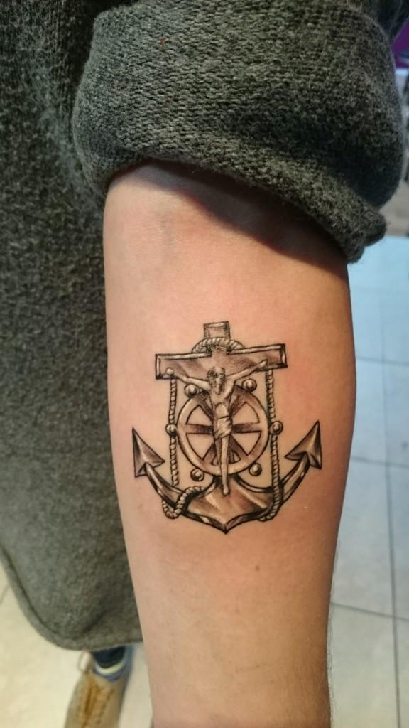 anchor jesus tattoo antique