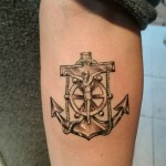religious tattoo nautical tattoo black and grey