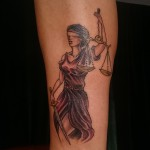 greek goddess justice themis black and grey tattoo