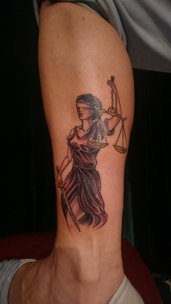 greek goddess justice themis black and grey tattoo
