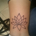 ankle tattoo lotus flower outline