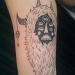 black grey monster tattoo