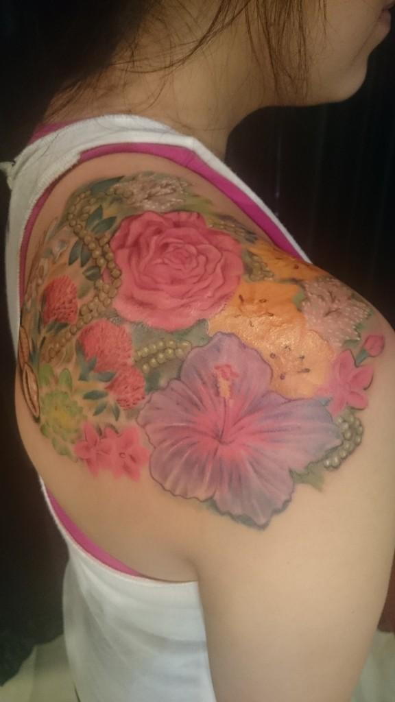 4dd3677df06d4 (cover up). feminine floral botanical pearls shoulder tattoo
