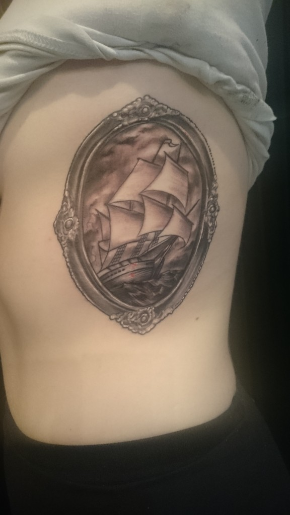 nautical ship vintage frame black and grey rib tattoo