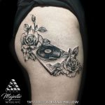 record player rose tattoo