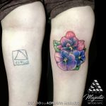 violet coverup flower tattoo