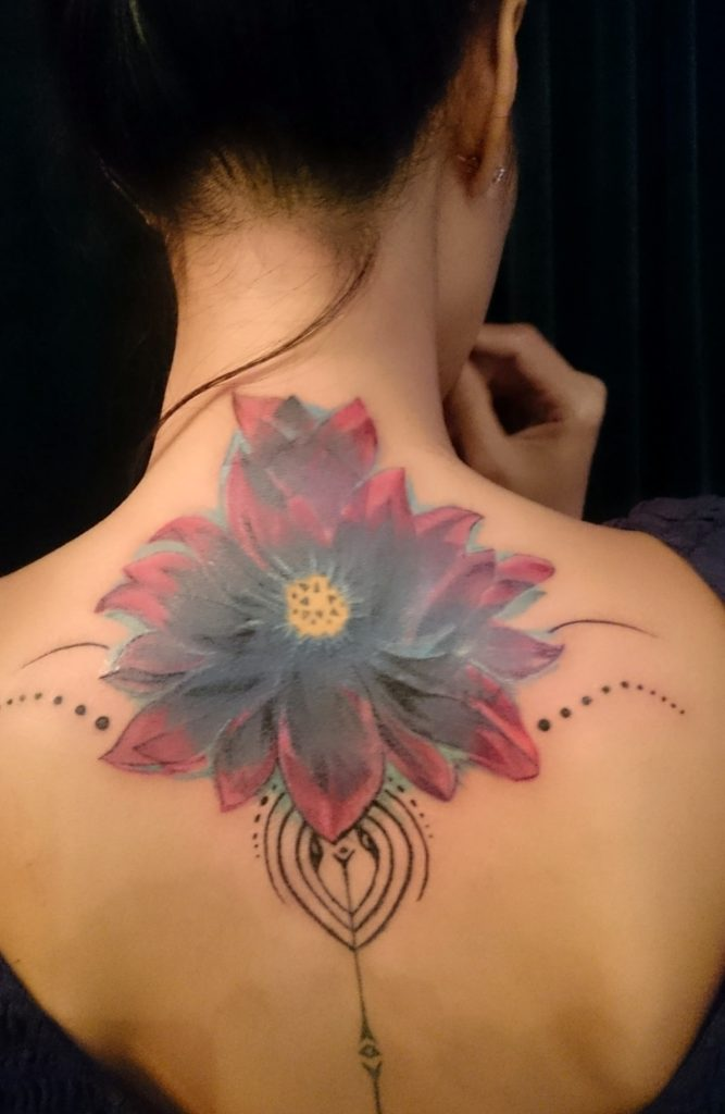 7851f0cfd8b7f color flowers shoulder piece cover up by Adal. floral sleeve dark colors  tattoo: (cover up)